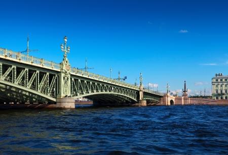 View of St. Petersburg. Trinity Bridge in summer day photo