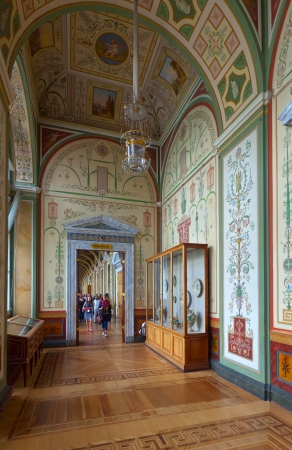 piter: ST.PETERSBURG, RUSSIA - AUGUST 1: Interior of State Hermitage in August 1, 2012 in St.Petersburg, Russia. State Hermitage was founded in 1764. Now it is largest in Russia and one of largest museums