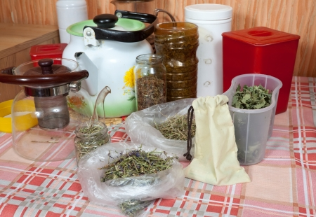 herbs at home kitchen ready for brews photo