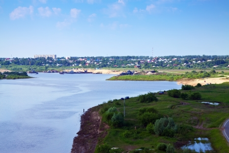 outskirts: Murom outskirts from the Oka River in summer. Russia Stock Photo
