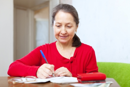 serious  woman is calculated the family budget at  home Stock Photo - 17767287