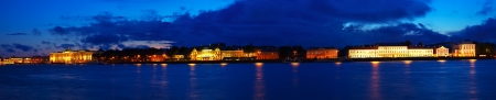 Panoramic view of Vasilyevsky Island in night. Saint Petersburg, Russia photo