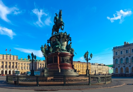 saint petersburg: Bronze equestrian monument of Nicholas I of Russia on St. Isaacs Square. Saint Petersburg, Russia