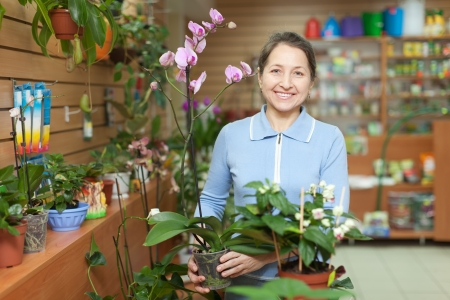 Happy mature woman with  orchid in pot at flower store Stock Photo - 17878624