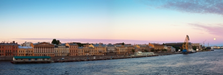 dockside: panoramic view of St. Petersburg. English Embankment in morning Stock Photo