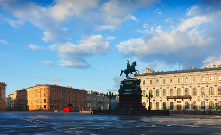 Bronze equestrian monument of Nicholas I of Russia on St. Isaac's Square. Saint Petersburg, Russia photo