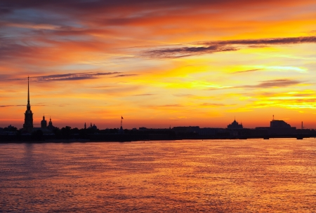 View of St. Petersburg. Peter and Paul Fortress in summer dawn photo
