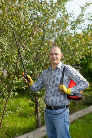 Man spraying tree plant in orchard photo