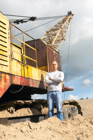 sand pit: Portrait of worker  at sand pit
