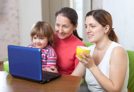 Happy women  of three generations using laptop on sofa  in home Stock Photo - 17926070