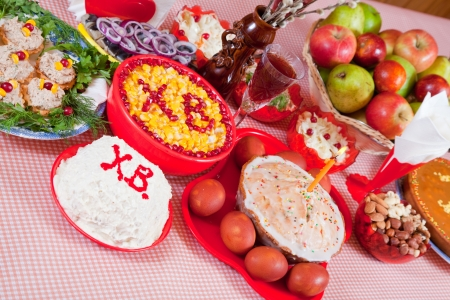 paskha: Easter table with celebrate cake  and holiday meal
