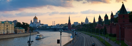 Panorama of Moscow. Christ the Savior Cathedral and Kremlin in sunset. Russia photo