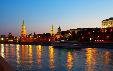 moskva river:  Moscow Kremlin  and   Moskva River in sunset. Russia