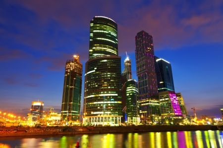 Wide angle shot of skyscrapers of Moscow city business center  in summer night