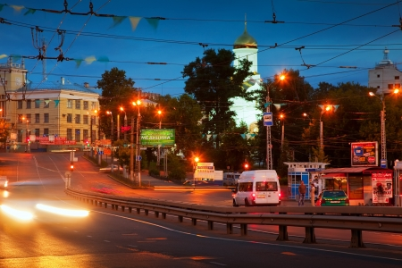 IVANOVO, RUSSIA - JUNE 27:  night view of Ivanovo - Lenin Avenue on June 27, 2012 in Ivanovo, Russia. City is center of textile industry and education. Population: Population: 409,277 (2010 Census)