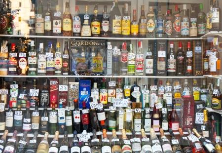 capita: BARCELONA, SPAIN - FEBRUARY 26: Showcase alcohol store in February 26, 2013 in Barcelona, Spain. Spain ranks 30th in the world for alcohol consumption per capita
