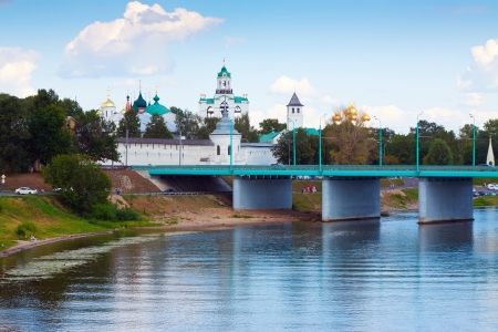 kreml: Holy Transfiguration Monastery from bridge through Kotorosl in Yaroslavl. Russia Editorial