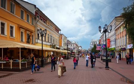 nizhni novgorod: NIZHNY NOVGOROD, RUSSIA - JULY 19: Pedestrian street in old city in July 19, 2012 in Nizhny Novgorod, Russia. City was founded in 1221, now is fifth largest city in Russia with population of 1,250,615