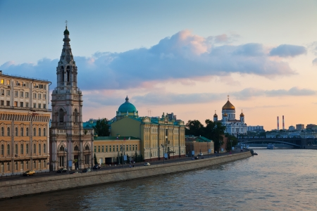moskva river: View of Moscow. St. Sofia embankment  in  summer sunset Stock Photo