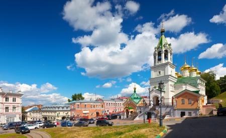 nizhni novgorod:  View of old street with Church of the Nativity John the Baptist at Nizhny Novgorod in summer, Russia