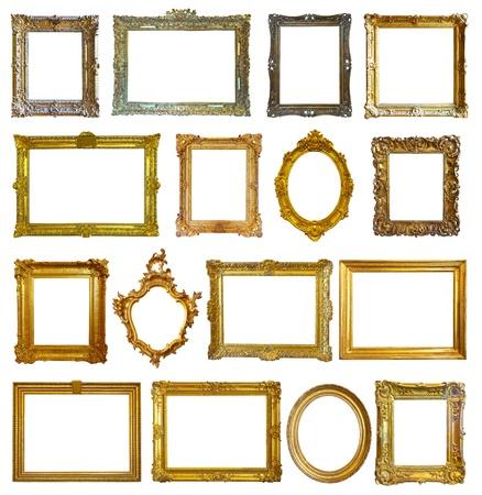 óvalo: Conjunto de 16 marcos. Aislado sobre fondo blanco con trazado de recorte