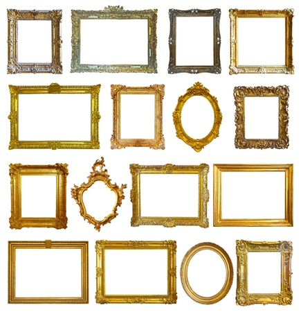 Set of 16 picture frames. Isolated over white background with clipping path Stock Photo