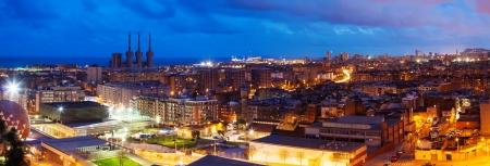 barcelona city: Panoramic night view of Barcelona.  Spain
