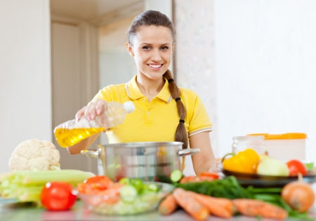 European woman  in yellow pouring oil from bottle into the saucepan photo