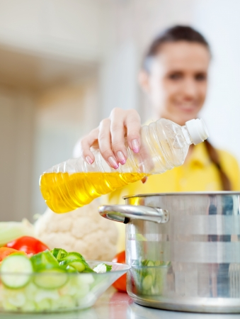 Woman in yellow pours oil from bottle into saucepan. Focus on bottle Stock Photo - 18623387