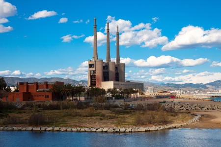 chimneys of Besos power thermal station in Sand Adria de Besos  Barcelona Stock Photo - 18645992