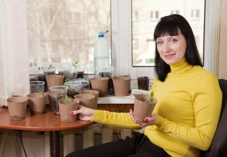 Smiling woman with various seedlings at home photo