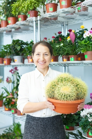 mature woman chooses cactus at flower store Stock Photo - 18654976