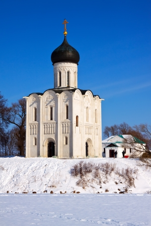 nerl river: Church of the Intercession on the River Nerl. Stock Photo