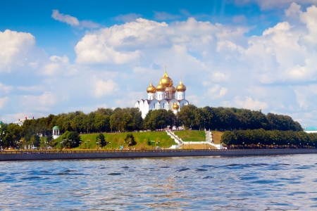 the volga river: Cathedral of the Assumption in Yaroslavl from junction rivers in summer. Russia