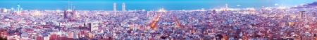 General view of  Barcelona city in night. Spain photo