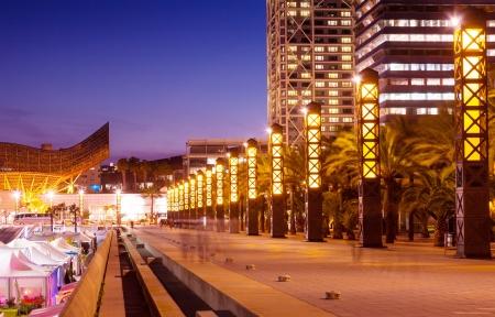 barcelona spain: Port Olimpic - center of nightlife at Barcelona, Spain Stock Photo