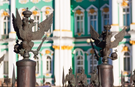 View of Saint Petersburg. Details of fence at Palace Square