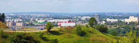 residential settlement: panoramic view of  industry district at Nizhny Novgorod in summer  Russia Stock Photo