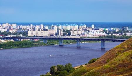 oka:   residential district at Nizhny Novgorod with Metro Bridge through Oka River  Russia Stock Photo