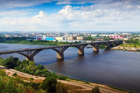 nizhni novgorod: View of Nizhny Novgorod with Molitovsky bridge through Oka River  Russia
