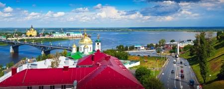 kreml: View of Nizhny Novgorod  Kanavinsky bridge and Junction of Oka river with Volga River Editorial