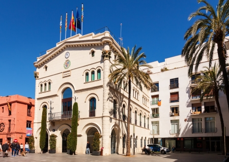 3rd century: BADALONA, SPAIN - MARCH 25: Old Town Hall in March 25, 2013 in Badalona, Spain. City was founded by the Romans in the 3rd century BC.  Population: 220,977 (2012 Census)