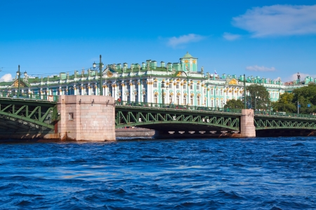 winter palace: View of St. Petersburg. Palace Bridge in summer day