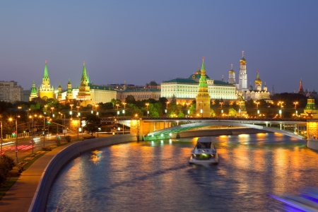 moskva river: View of Moscow Kremlin in dusk Stock Photo