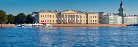 view of St. Petersburg. Vasilyevsky Island in summer day photo
