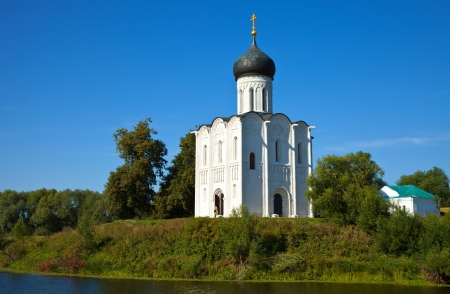 nerl river: Church of the Intercession on the River Nerl in summer