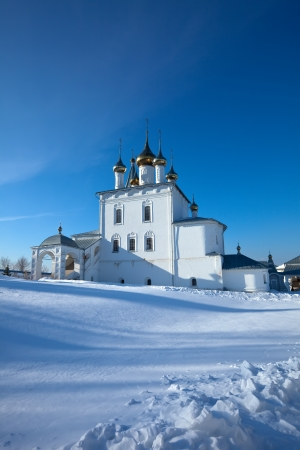 Trinity Cathedral (build in 1681-1689)  at  Holy Trinity Monastery of St. Nicholas monastery at Gorokhovets in winter. Russia