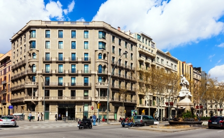 gran via: BARCELONA, SPAIN - MARCH 28: Gran Via de les Corts Catalanes in March 28, 2013 in Barcelona, Spain. Gran Via is one of major avenues, it is longest street in Spain