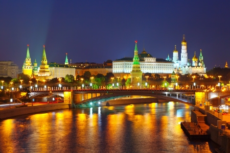 Kind to the Moscow Kremlin  and   Moskva River in night  Russia photo