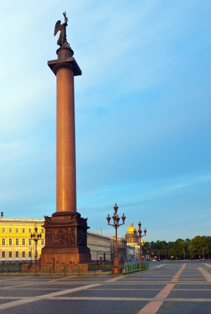 isaac s: View of St  Petersburg  The Alexander Column in the Palace Square Stock Photo